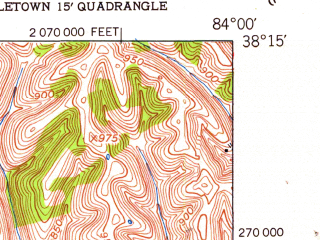Reduced fragment of topographic map en--usgs--024k--032401--(1952)--N038-15-00_W084-07-30--N038-07-30_W084-00-00; towns and cities North Middletown