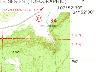 Reduced fragment of topographic map en--usgs--024k--032440--(1961)--N034-52-30_W108-00-00--N034-45-00_W107-52-30