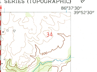 Reduced fragment of topographic map en--usgs--024k--032459--(1958)--N039-52-30_W086-45-00--N039-45-00_W086-37-30; towns and cities North Salem