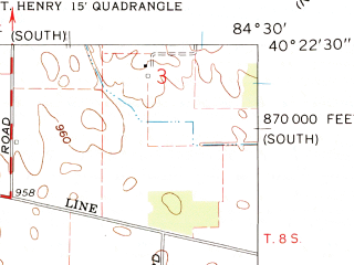 Reduced fragment of topographic map en--usgs--024k--032473--(1961)--N040-22-30_W084-37-30--N040-15-00_W084-30-00; towns and cities North Star