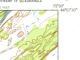 Reduced fragment of topographic map en--usgs--024k--032494--(1951)--N044-07-30_W075-37-30--N044-00-00_W075-30-00