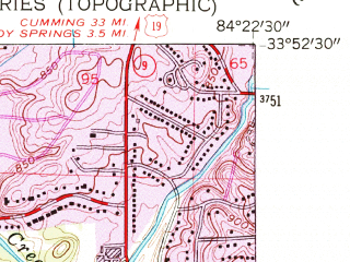 Reduced fragment of topographic map en--usgs--024k--032502--(1954)--N033-52-30_W084-22-30--N033-45-00_W084-15-00; towns and cities North Atlanta, Decatur, Druid Hills, North Decatur, Scottdale