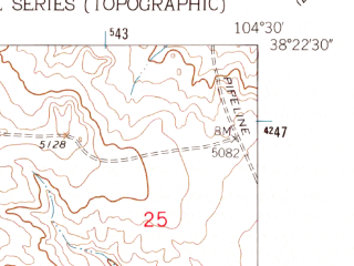 Reduced fragment of topographic map en--usgs--024k--032519--(1961)--N038-22-30_W104-37-30--N038-15-00_W104-30-00; towns and cities Pueblo