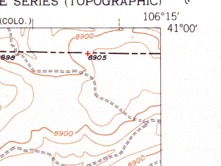 Reduced fragment of topographic map en--usgs--024k--032528--(1952)--N041-00-00_W106-22-30--N040-52-30_W106-15-00