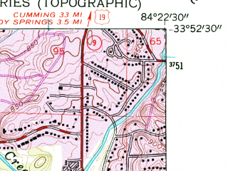 Reduced fragment of topographic map en--usgs--024k--032548--(1954)--N033-52-30_W084-30-00--N033-45-00_W084-22-30; towns and cities Atlanta, Vinings
