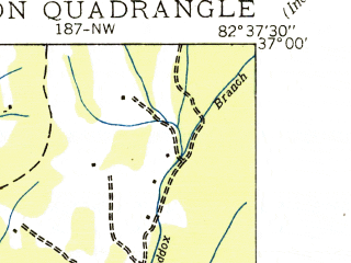 Reduced fragment of topographic map en--usgs--024k--032576--(1935)--N037-00-00_W082-45-00--N036-52-30_W082-37-30; towns and cities Norton
