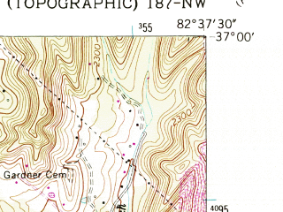 Reduced fragment of topographic map en--usgs--024k--032576--(1957)--N037-00-00_W082-45-00--N036-52-30_W082-37-30; towns and cities Norton
