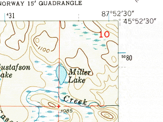 Reduced fragment of topographic map en--usgs--024k--032595--(1955)--N045-52-30_W088-00-00--N045-45-00_W087-52-30; towns and cities Norway, Quinnesec