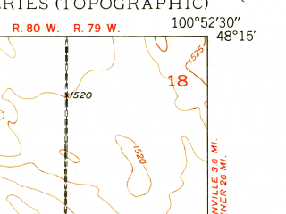 Reduced fragment of topographic map en--usgs--024k--032605--(1949)--N048-15-00_W101-00-00--N048-07-30_W100-52-30
