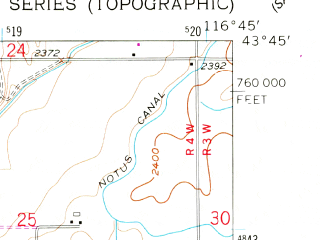 Reduced fragment of topographic map en--usgs--024k--032623--(1957)--N043-45-00_W116-52-30--N043-37-30_W116-45-00; towns and cities Greenleaf, Notus