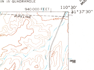 Reduced fragment of topographic map en--usgs--024k--032687--(1958)--N031-37-30_W110-37-30--N031-30-00_W110-30-00