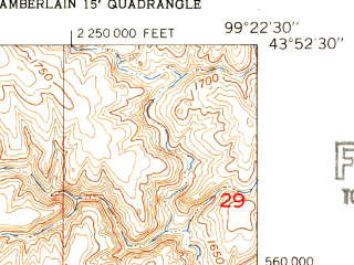 Reduced fragment of topographic map en--usgs--024k--032705--(1952)--N043-52-30_W099-30-00--N043-45-00_W099-22-30; towns and cities Oacoma