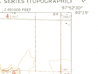 Reduced fragment of topographic map en--usgs--024k--032708--(1960)--N040-15-00_W098-00-00--N040-07-30_W097-52-30; towns and cities Nora, Oak