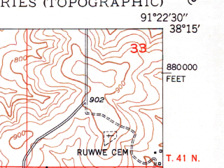 Reduced fragment of topographic map en--usgs--024k--032739--(1949)--N038-15-00_W091-30-00--N038-07-30_W091-22-30