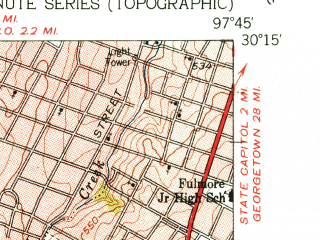 Reduced fragment of topographic map en--usgs--024k--032740--(1955)--N030-15-00_W097-52-30--N030-07-30_W097-45-00; towns and cities Sunset Valley, Tanglewood Forest, Onion Creek
