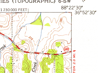 Reduced fragment of topographic map en--usgs--024k--032751--(1951)--N036-52-30_W088-30-00--N036-45-00_W088-22-30