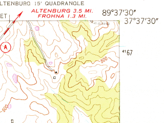 Reduced fragment of topographic map en--usgs--024k--032758--(1947)--N037-37-30_W089-45-00--N037-30-00_W089-37-30; towns and cities Oak Ridge, Old Appleton, Pocahontas