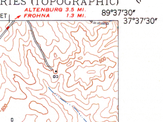 Reduced fragment of topographic map en--usgs--024k--032758--(1948)--N037-37-30_W089-45-00--N037-30-00_W089-37-30; towns and cities Oak Ridge, Old Appleton, Pocahontas