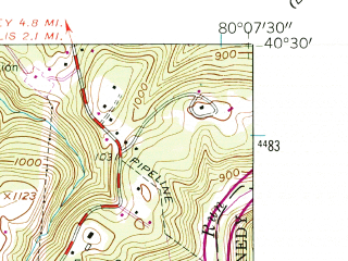Reduced fragment of topographic map en--usgs--024k--032769--(1960)--N040-30-00_W080-15-00--N040-22-30_W080-07-30; towns and cities Imperial-enlow, Oakdale