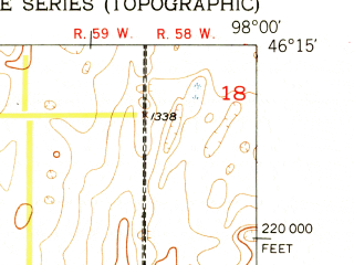 Reduced fragment of topographic map en--usgs--024k--032778--(1952)--N046-15-00_W098-07-30--N046-07-30_W098-00-00; towns and cities Oakes