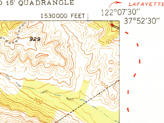 Reduced fragment of topographic map en--usgs--024k--032794--(1949)--N037-52-30_W122-15-00--N037-45-00_W122-07-30; towns and cities Oakland, Piedmont