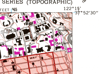 Reduced fragment of topographic map en--usgs--024k--032795--(1959)--N037-52-30_W122-22-30--N037-45-00_W122-15-00; towns and cities Berkeley, Alameda, Emeryville