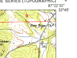 Reduced fragment of topographic map en--usgs--024k--032800--(1951)--N033-45-00_W087-30-00--N033-37-30_W087-22-30; towns and cities Oakman
