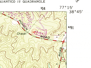 Reduced fragment of topographic map en--usgs--024k--032861--(1956)--N038-45-00_W077-22-30--N038-37-30_W077-15-00; towns and cities Woodbridge, Dale City, Lake Ridge, Occoquan