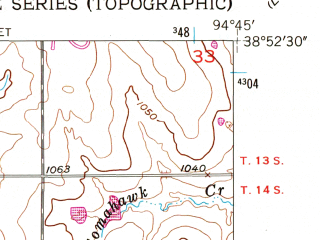 Reduced fragment of topographic map en--usgs--024k--032873--(1956)--N038-52-30_W094-52-30--N038-45-00_W094-45-00; towns and cities Spring Hill