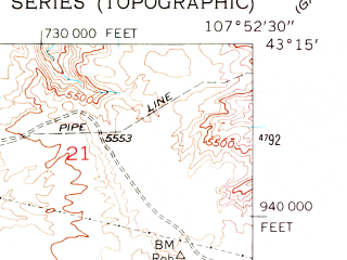 Reduced fragment of topographic map en--usgs--024k--032883--(1952)--N043-15-00_W108-00-00--N043-07-30_W107-52-30