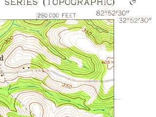 Reduced fragment of topographic map en--usgs--024k--032884--(1962)--N032-52-30_W083-00-00--N032-45-00_W082-52-30; towns and cities Oconee