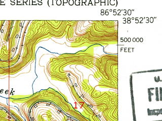 Reduced fragment of topographic map en--usgs--024k--032935--(1950)--N038-52-30_W087-00-00--N038-45-00_W086-52-30; towns and cities Odon