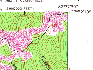 Reduced fragment of topographic map en--usgs--024k--032946--(1954)--N037-52-30_W082-45-00--N037-45-00_W082-37-30