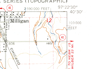 Reduced fragment of topographic map en--usgs--024k--032983--(1961)--N040-30-00_W097-30-00--N040-22-30_W097-22-30; towns and cities Milligan, Ohiowa