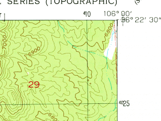 Reduced fragment of topographic map en--usgs--024k--033001--(1953)--N036-22-30_W106-07-30--N036-15-00_W106-00-00