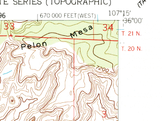 Reduced fragment of topographic map en--usgs--024k--033003--(1961)--N036-00-00_W107-22-30--N035-52-30_W107-15-00