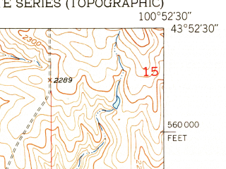 Reduced fragment of topographic map en--usgs--024k--033015--(1951)--N043-52-30_W101-00-00--N043-45-00_W100-52-30