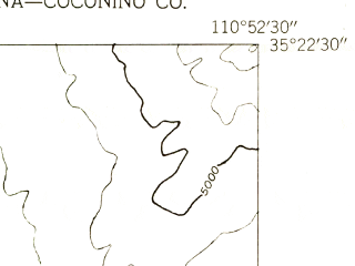 Reduced fragment of topographic map en--usgs--024k--033090--(1955)--N035-22-30_W111-00-00--N035-15-00_W110-52-30