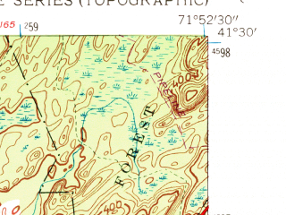 Reduced fragment of topographic map en--usgs--024k--033098--(1958)--N041-30-00_W072-00-00--N041-22-30_W071-52-30