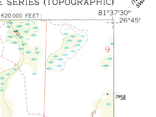 Reduced fragment of topographic map en--usgs--024k--033135--(1958)--N026-45-00_W081-45-00--N026-37-30_W081-37-30; towns and cities Fort Myers Shores