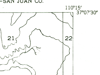 Reduced fragment of topographic map en--usgs--024k--033164--(1952)--N037-07-30_W110-22-30--N037-00-00_W110-15-00