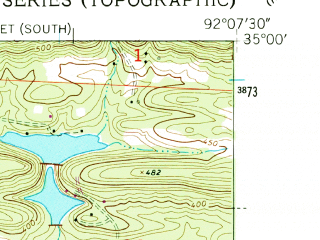 Reduced fragment of topographic map en--usgs--024k--033173--(1954)--N035-00-00_W092-15-00--N034-52-30_W092-07-30; towns and cities Gibson