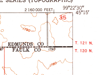 Reduced fragment of topographic map en--usgs--024k--033233--(1952)--N045-15-00_W099-30-00--N045-07-30_W099-22-30; towns and cities Onaka