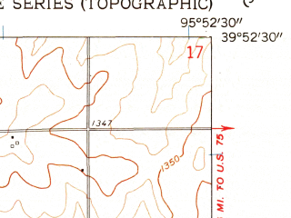 Reduced fragment of topographic map en--usgs--024k--033250--(1961)--N039-52-30_W096-00-00--N039-45-00_W095-52-30; towns and cities Oneida