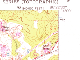 Reduced fragment of topographic map en--usgs--024k--033260--(1958)--N034-00-00_W086-30-00--N033-52-30_W086-22-30; towns and cities Highland Lake, Oneonta