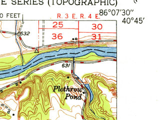 Reduced fragment of topographic map en--usgs--024k--033283--(1951)--N040-45-00_W086-15-00--N040-37-30_W086-07-30; towns and cities Grissom Afb, Onward, Walton