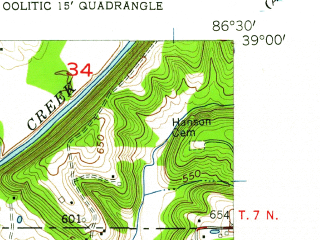 Reduced fragment of topographic map en--usgs--024k--033288--(1957)--N039-00-00_W086-37-30--N038-52-30_W086-30-00; towns and cities Oolitic