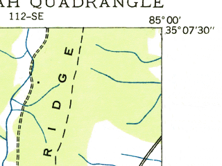 Reduced fragment of topographic map en--usgs--024k--033290--(1935)--N035-07-30_W085-07-30--N035-00-00_W085-00-00; towns and cities East Brainerd, Collegedale, Ooltewah