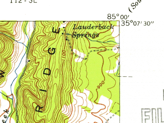 Reduced fragment of topographic map en--usgs--024k--033290--(1940)--N035-07-30_W085-07-30--N035-00-00_W085-00-00; towns and cities East Brainerd, Collegedale, Ooltewah