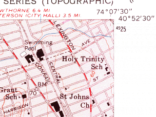 Reduced fragment of topographic map en--usgs--024k--033330--(1955)--N040-52-30_W074-15-00--N040-45-00_W074-07-30; towns and cities Passaic, Clifton, East Orange, Belleville, Bloomfield